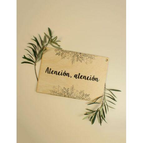 Cartel boda ¡Atención atención! madera