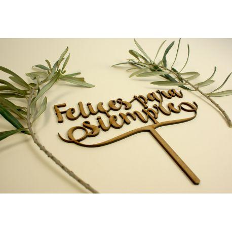 Caketopper madera Felices para siempre