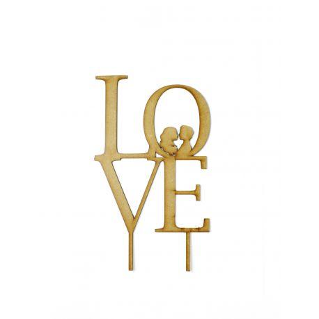 Caketopper de madera LOVE siluetas