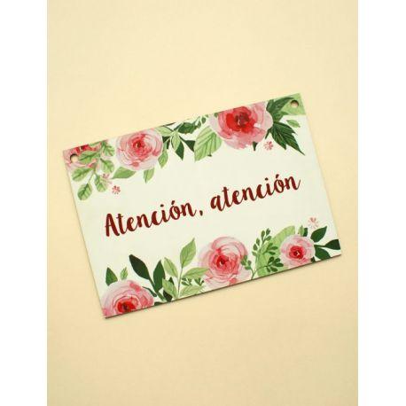 Cartel boda ¡Atención atención! blanco con rosas