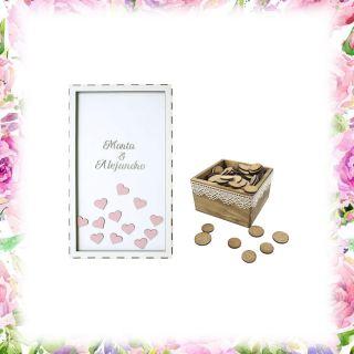 Pack cuadro 100 corazones + caja pequeña personalizada