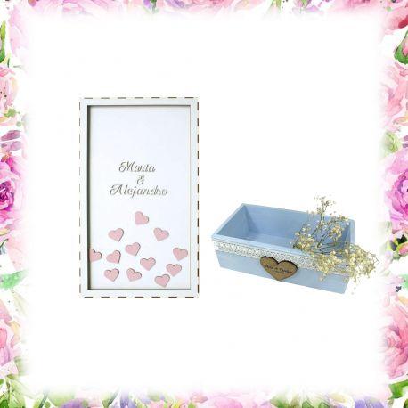 Pack cuadro 200 corazones + caja grande personalizada