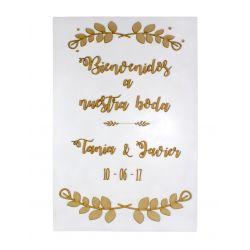 Cartel de bienvenida para bodas personalizado - decoracion de bodas , comuniones , eventos y congresos