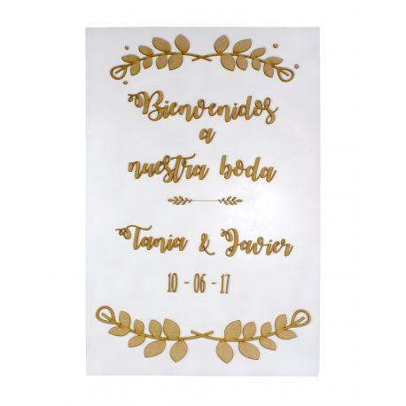 Cartel de bienvenida para bodas personalizado