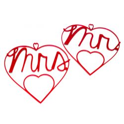 Corazones de metacrilato Mr & Mrs