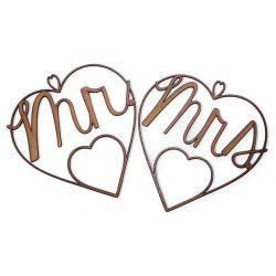 Corazones de madera Mr & Mrs