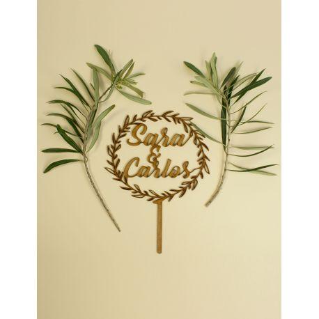Caketopper Corona de flores Personalizado