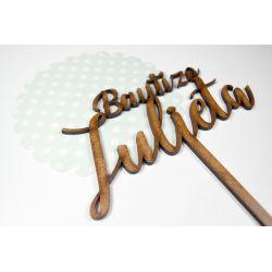 "Topper Bautizo ""X"" Madera Decoracion de Tartas  ,  dulces, Flores , regalos"