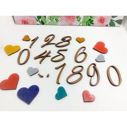 Números , puntos y comas en madera estilo 1 - decoracion de bodas , comuniones , eventos y congresos