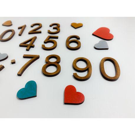 Números , puntos y comas en madera estilo 1