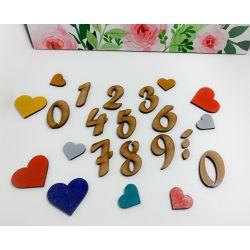 Números , puntos y comas en madera estilo 3 - decoracion de bodas , comuniones , eventos y congresos