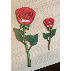 Rosa Impresa Personalizada Pequeña - Regalo San Valentin , Aniversario , Bodas